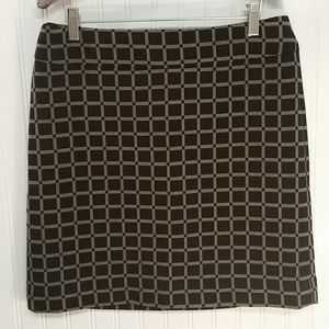 LOFT Black & Gray Checked Mini Skirt